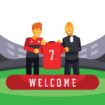 red team player new transfer with manager illustration